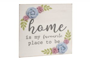 Grey Floral Home Plaque