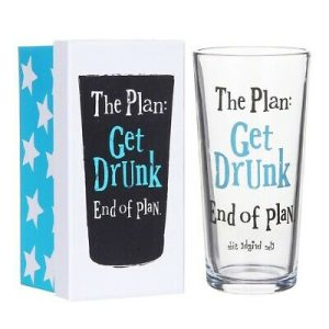 'The Plan: Get Drunk, End of Plan' Glass In Box - The Bright Side
