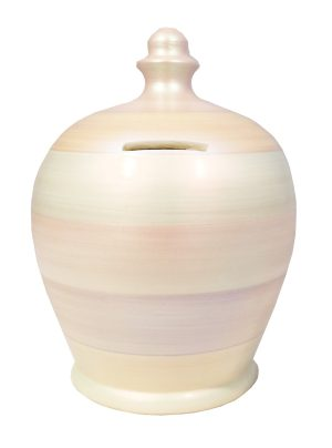 Terramundi Money Pot - Metallic White with Pearlescent Multi Coloured Stripes - C73