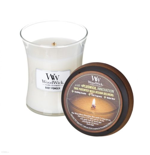 WoodWick Baby Powder Medium Hourglass Candle, 275g