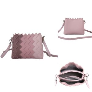 Red Cuckoo - 649 - Pink Cross Body Bag With Vertical Zig Zag Gradient Effect