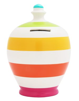 Terramundi Money Pot - Stripe White With Multi Colours - B4