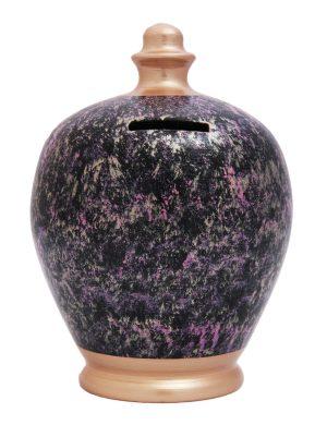 Terramundi Money Pot - Black with Rose Gold, Pink and Purple - C66
