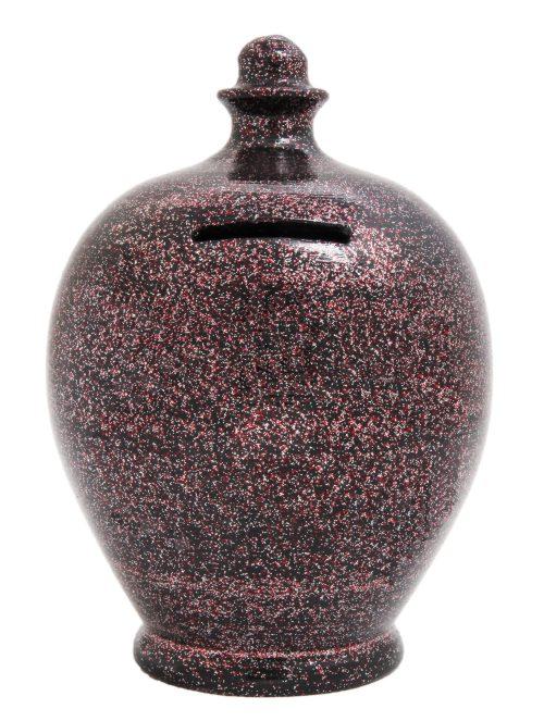 Terramundi Money Pot - Black With Silver and Red Glitter - G1