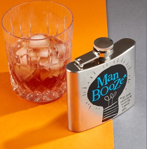 Man Booze Hip Flask, Boxed - The Bright Side