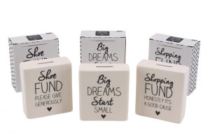 Absolutely Fabulous 'Shoe Fund' Cream Ceramic Money Bank - CGB Giftware