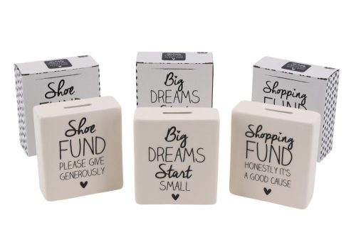 Absolutely Fabulous 'Shopping Fund' Cream Ceramic Money Bank - CGB Giftware