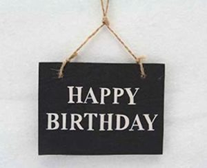 Gisela Graham - Black and White Happy Birthday Hanging Sign, 11 x 8 cm