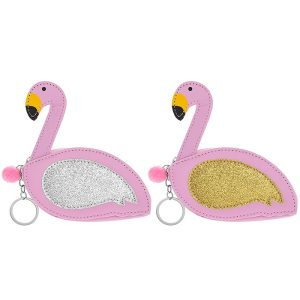 Silver Glitter Flamingo Coin Purse Keyring - Lesser and Pavey