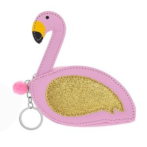 Gold Glitter Flamingo Coin Purse Keyring - Lesser and Pavey