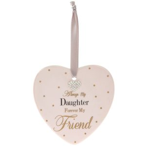 Mad Dots 'Always My Daughter Forever My Friend' Ceramic Heart Hanger