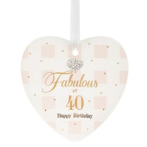 Mad Dots 'Fabulous At 40' Happy Birthday Ceramic Heart Hanger