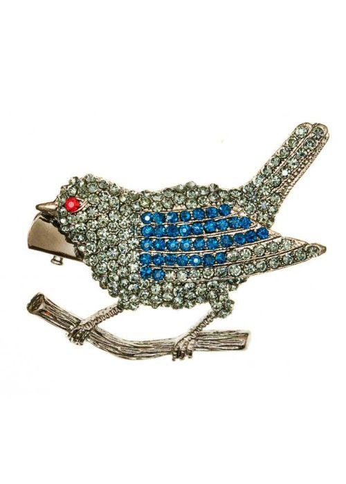 Rosie Fox Pewter Crystal Finch Bird Brooch and Hair Clip