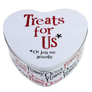 'Treats For Us, Or Just Me Actually' Heart Shaped Tin - The Bright Side