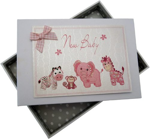 New Baby Girl Pink Small Photo Album - White Cotton Cards
