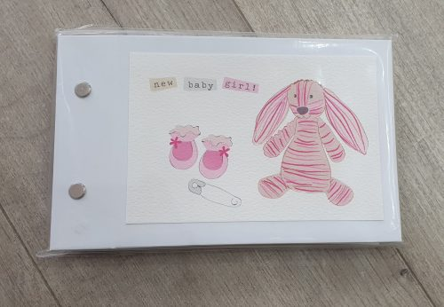 New Baby Girl Pink Rabbit Pocket Photo Album - Belly Button Designs
