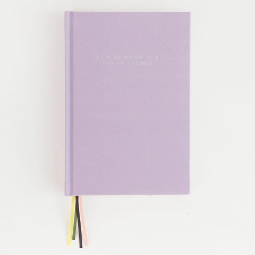 'Be a Rainbow in a Sky of Clouds' Lilac Multi Ribbon Hardback Notebook - Caroline Gardner