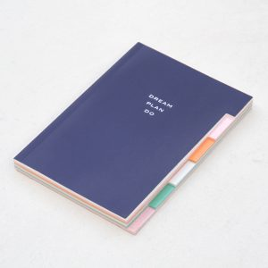 'Dream Plan Do' Navy Patent Multi Tab Notebook - Caroline Gardner