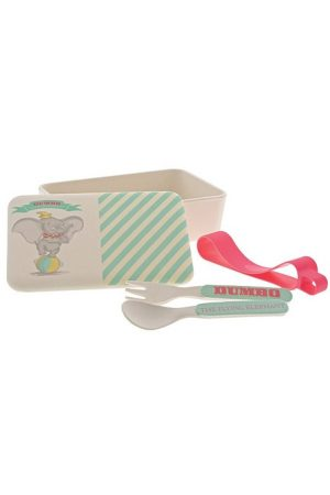 Enchanting Disney Dumbo Organic Bamboo Snack Box with Cutlery Set