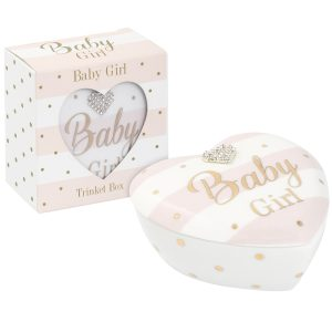 Mad Dots Baby Girl Ceramic Heart Shaped Keepsake Box