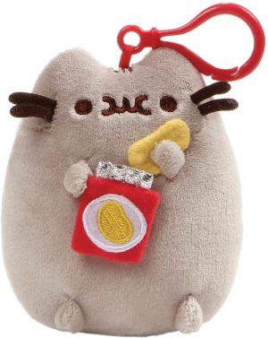 Pusheen Eating Crisps Backpack Clip - GUND