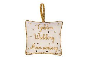 Golden Wedding Anniversary Cushion Hanger, 18x18cm