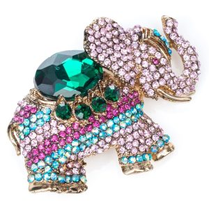 Rosie Fox Pink Crystal Elephant Brooch and Hair Clip