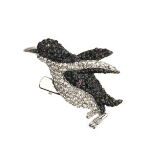 Rosie Fox Crystal Penguin Brooch and Hair Clip
