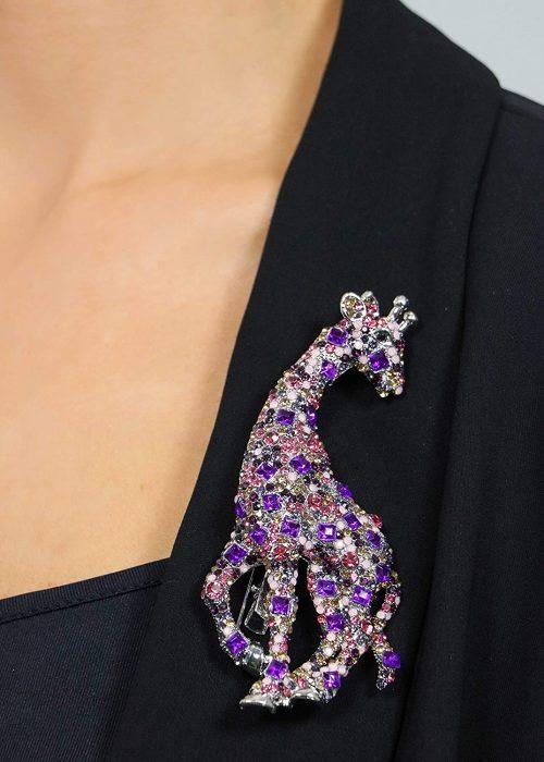 Rosie Fox Large Pink Crystal Giraffe Brooch and Hair Clip