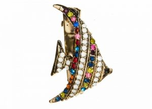 Rosie Fox Rainbow Crystal Fish Brooch and Hair Clip