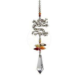 Crystal Fantasy Fiery Chinese Dragon Hanging Swarovski Suncatcher