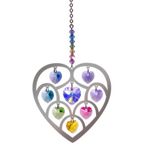Crystal Radiance - Large Heart of Hearts - Confetti Swarovski Crystal Heart Rainbow Maker Sun Catcher