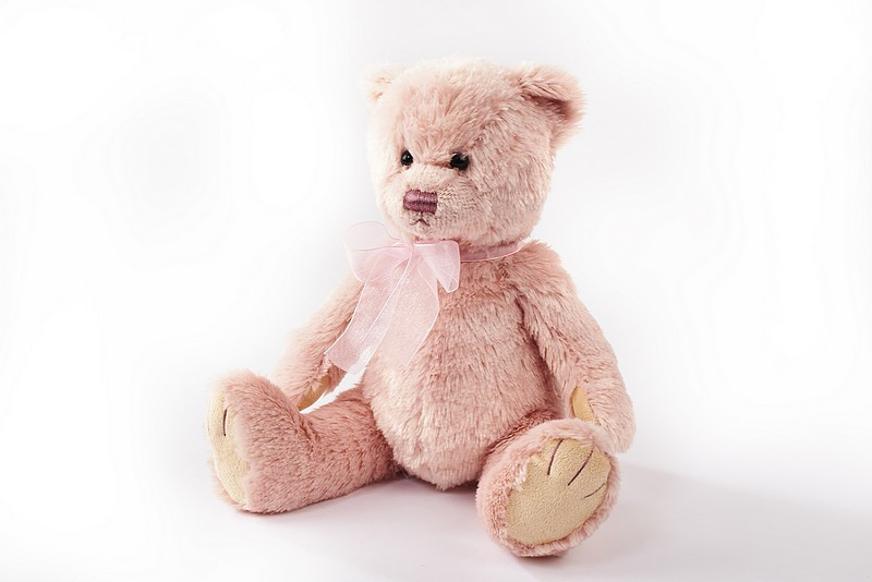 Pink Plush Teddy Bear With Bow - Langs