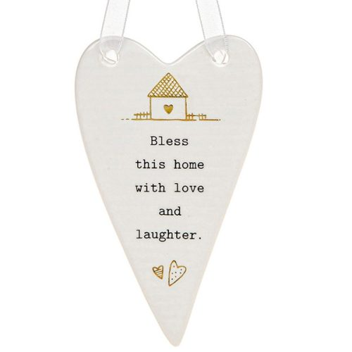 'Bless This Home With Love and Laughter' Ceramic Heart Hanging Plaque - Thoughtful Words