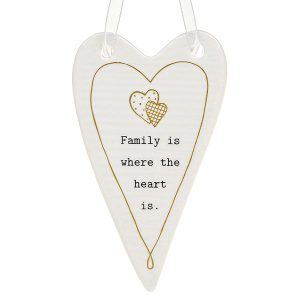 'Family Is Where The Heart Is' Ceramic Heart Hanging Plaque - Thoughtful Words