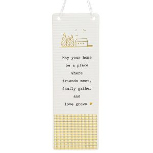'May Your Home Be a Place Where Friends Meet Family Gather and Love Grows' Ceramic Rectangle Hanging Plaque - Thoughtful Words