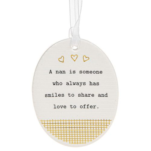'A Nan is Someone Who Always Has Smiles to Share and Love to Offer' Ceramic Oval Hanging Plaque - Thoughtful Words