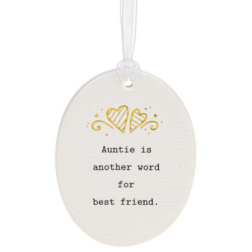 'Auntie Is Another Word For Best Friend' Ceramic Oval Hanging Plaque - Thoughtful Words
