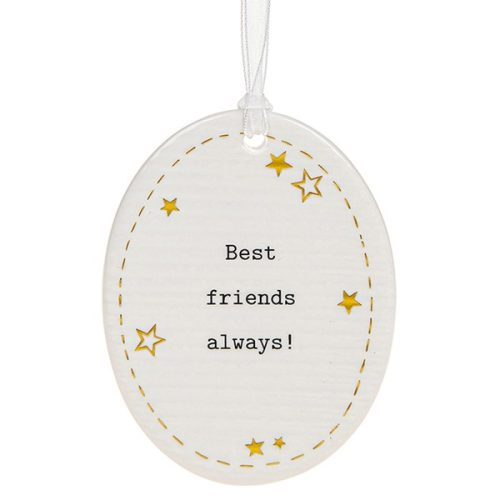 'Best Friends Always!' Ceramic Oval Hanging Plaque - Thoughtful Words
