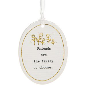 'Friends Are The Family We Choose' Ceramic Oval Hanging Plaque - Thoughtful Words