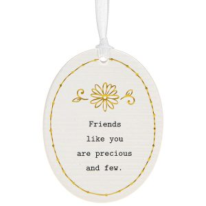'Friends Like You Are Precious and Few' Ceramic Oval Hanging Plaque - Thoughtful Words