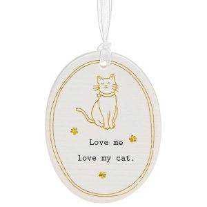 'Love Me Love My Cat' Ceramic Oval Hanging Plaque - Thoughtful Words