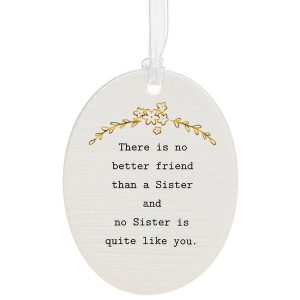 'There Is No Better Friend Than a Sister and No Sister is Quite Like You' Ceramic Oval Hanging Plaque - Thoughtful Words