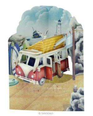 Santoro Camper Van 3D Pop-Up Swing Card - Greetings and Birthday Card