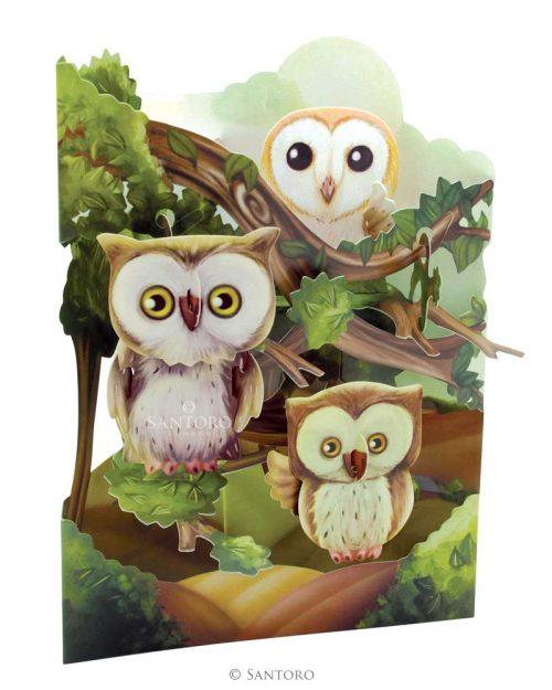 Santoro Owls 3D Pop-Up Swing Card - Greetings and Birthday Card