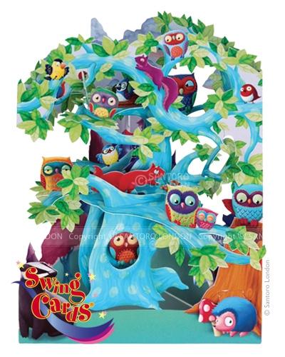 Santoro Woodland Tree of Birds 3D Pop-Up Swing Card - Greetings and Birthday Card
