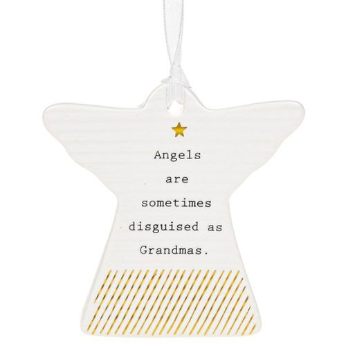 'Angels Are Sometimes Disguised As Grandmas' Ceramic Guardian Angel Hanging Plaque - Thoughtful Words