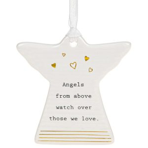 'Angels From Above Watch Over Those We Love' Ceramic Guardian Angel Hanging Plaque - Thoughtful Words