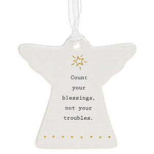 'Count Your Blessings, Not Your Troubles' Ceramic Guardian Angel Hanging Plaque - Thoughtful Words