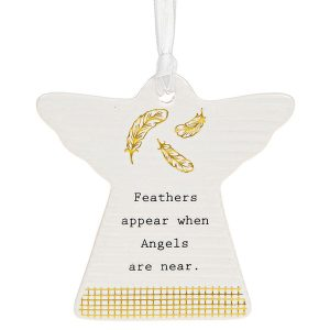 'Feathers Appear When Angels Are Near' Ceramic Guardian Angel Hanging Plaque - Thoughtful Words